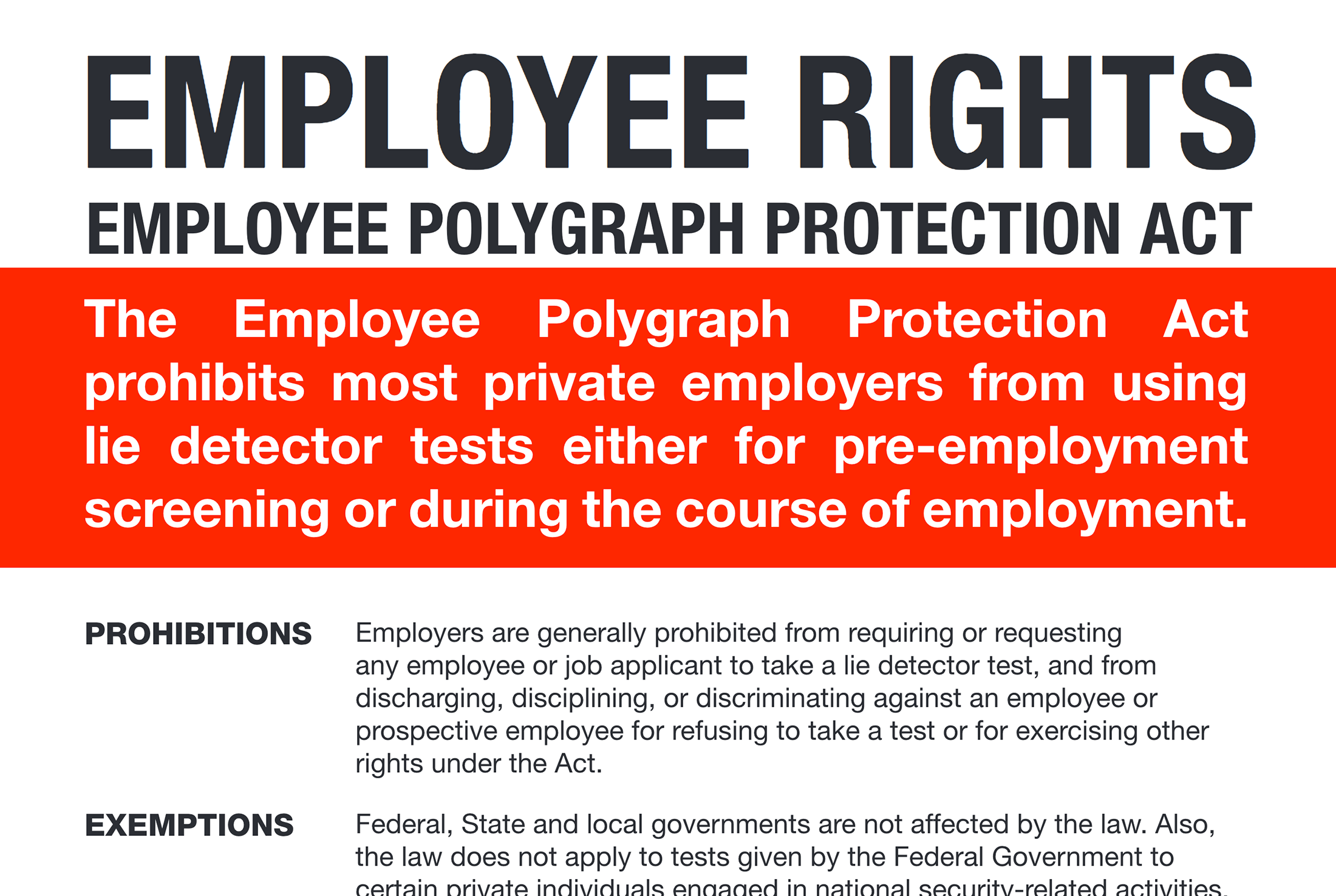 Fair Labor Standards Act (FLSA) and Employee Polygraph Protection Act (EPPA) postings